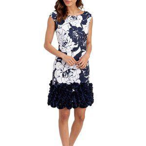 DONNA RICCO Graphic Floral Ruffle Hem Dress Sz 16